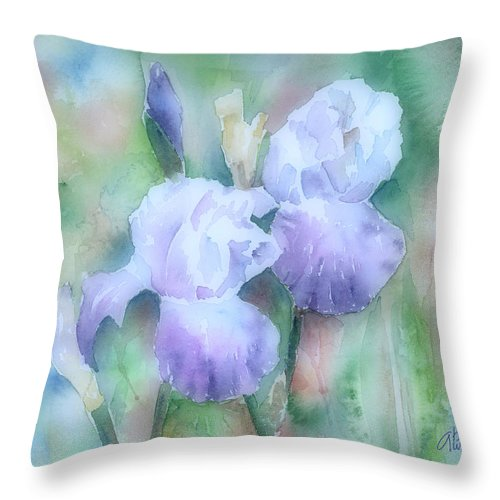 Iris Throw Pillow featuring the painting Lavender Iris by Arline Wagner