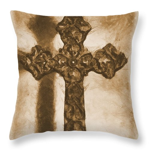 Faith Throw Pillow featuring the mixed media Lead Me To The Cross 2 by Angelina Vick
