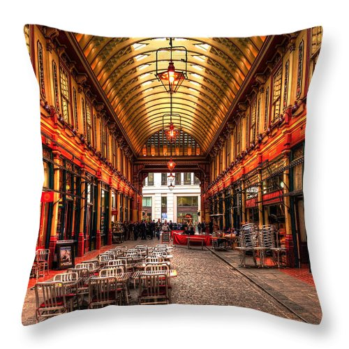 Architecture Throw Pillow featuring the photograph Leadenhall Market Interior by Svetlana Sewell