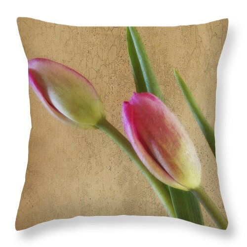 Florals Throw Pillow featuring the photograph Lean On Me by Linda Dunn