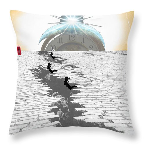 Digital Throw Pillow featuring the digital art Leaping Through Time by Jimi Bush