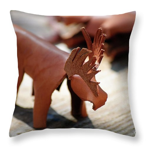 Elk; Elks; Leather; Art; Craft; Crafts Throw Pillow featuring the photograph Leather Elk by Diego Re