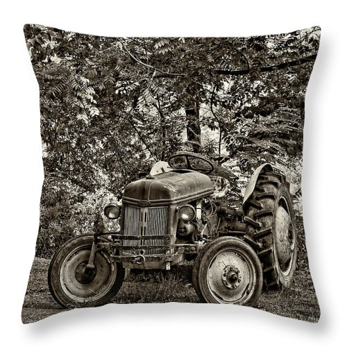 West Virginia Throw Pillow featuring the photograph Left Fielder Sepia by Steve Harrington