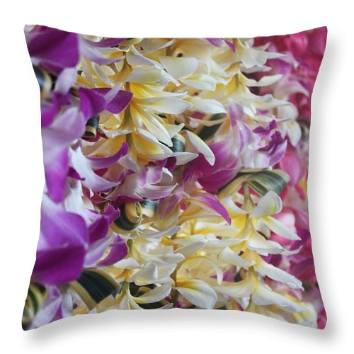 Leis Throw Pillow featuring the photograph Leis by Caroline Lomeli