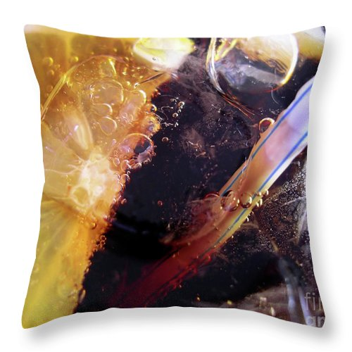 Alcohol Throw Pillow featuring the photograph Lemon And Straw by Carlos Caetano