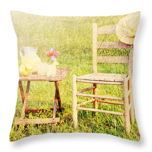 Drinks Throw Pillow featuring the photograph Lemonade by Darren Fisher