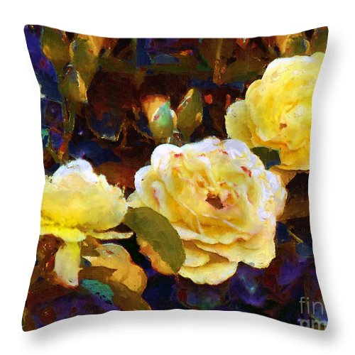 Rosebuds Throw Pillow featuring the painting Les Roses Sauvages by RC DeWinter