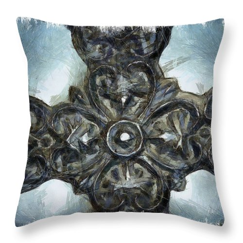 Faith Throw Pillow featuring the mixed media Let Mercy Reign 1 by Angelina Vick