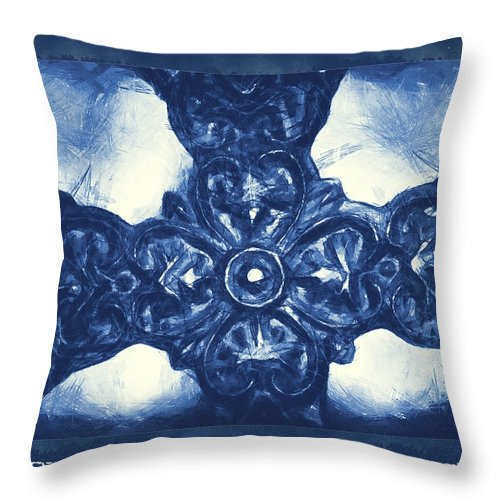 Faith Throw Pillow featuring the mixed media Let Mercy Reign 3 by Angelina Vick