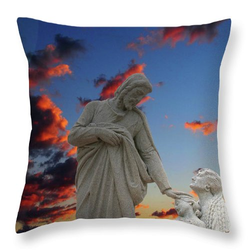 Jesus Throw Pillow featuring the photograph Let The Little Ones by David Arment