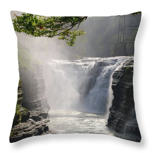 Waterfalls Throw Pillow featuring the photograph Letchworth II 7964 by Guy Whiteley