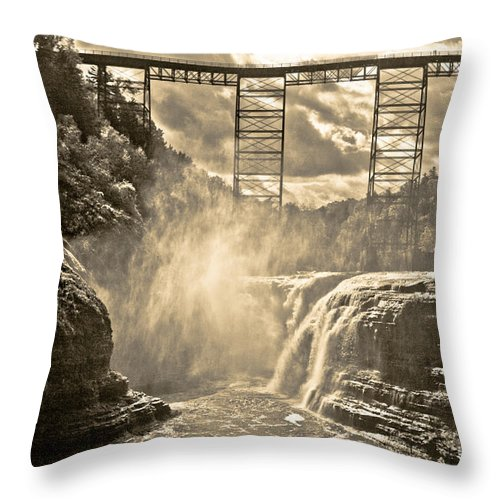 Letchworth Park Throw Pillow featuring the photograph Letchworth Park by Ken Marsh