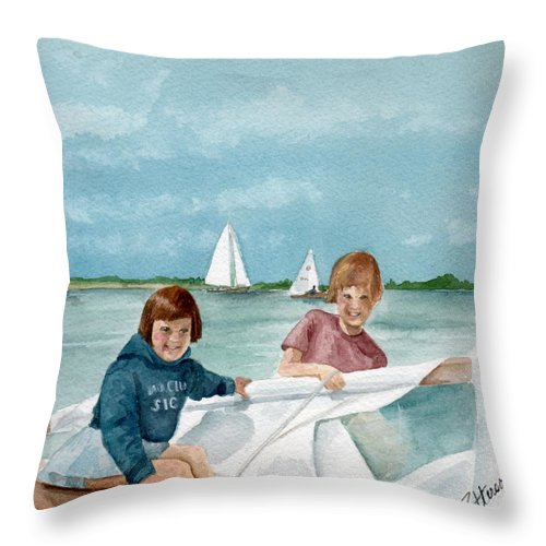 Sailing Throw Pillow featuring the painting Let's Go Sailing by Nancy Patterson