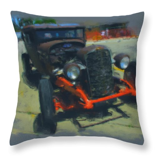 Car Throw Pillow featuring the mixed media Let's Ride by Adam Vance