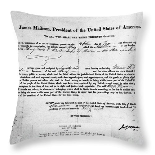 1812 Throw Pillow featuring the photograph Letter Of Marque, 1812 by Granger