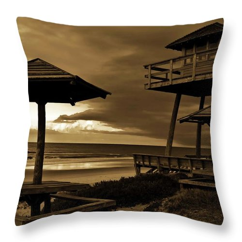 Shore Throw Pillow featuring the photograph World War II Coastal Watchtower by DigiArt Diaries by Vicky B Fuller