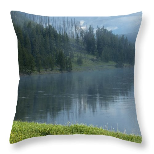 Bronstein Throw Pillow featuring the photograph Lifting Fog On The Yellowstone by Sandra Bronstein