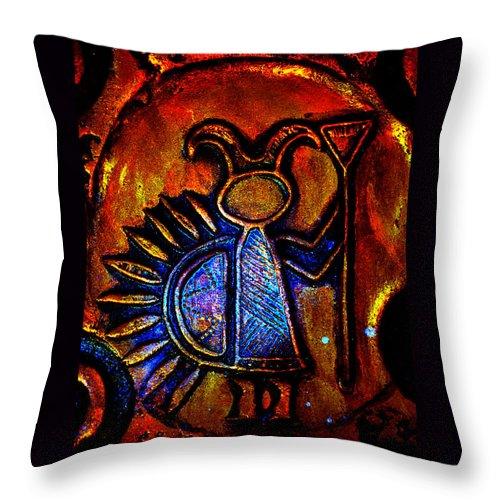 Native American Rock Art Throw Pillow featuring the photograph Light Bringer by Susanne Still