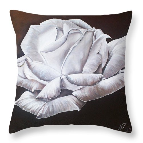 Still Life Throw Pillow featuring the painting Light In The Darkness by Natalia Tejera