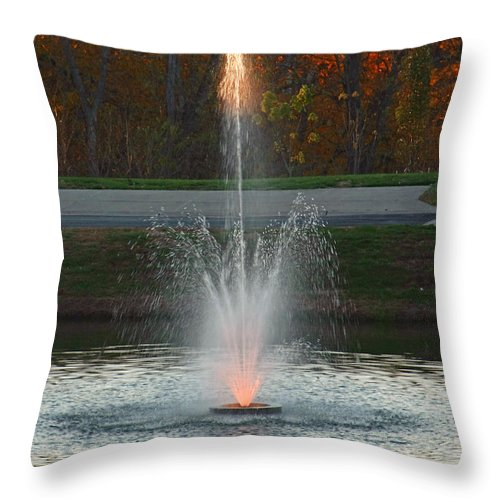 Sun Throw Pillow featuring the photograph Lighted Fountain by John Mullins
