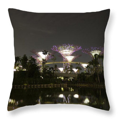 Asia Throw Pillow featuring the photograph Lighted Supertrees Of The Gardens By The Bay In Singapore by Ashish Agarwal