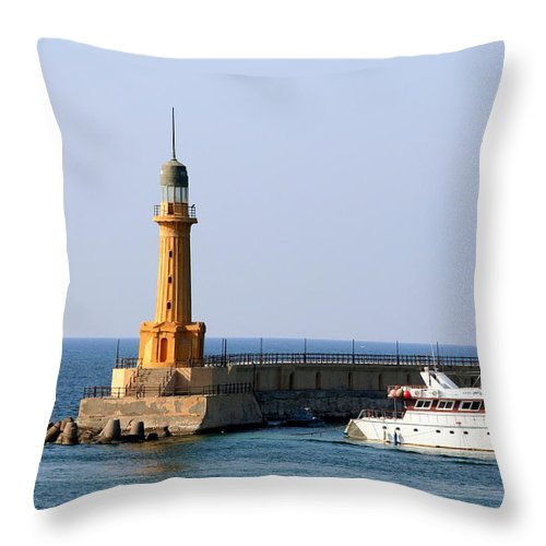 Corniche Throw Pillow featuring the photograph Lighthouse Along The Corniche by Laurel Talabere