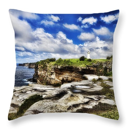 Lighthouse Throw Pillow featuring the photograph Lighthouse At Watson Bay by Douglas Barnard