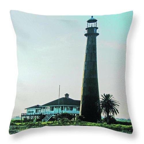 Lighthouse Throw Pillow featuring the digital art Lighthouse Galveston by Lizi Beard-Ward