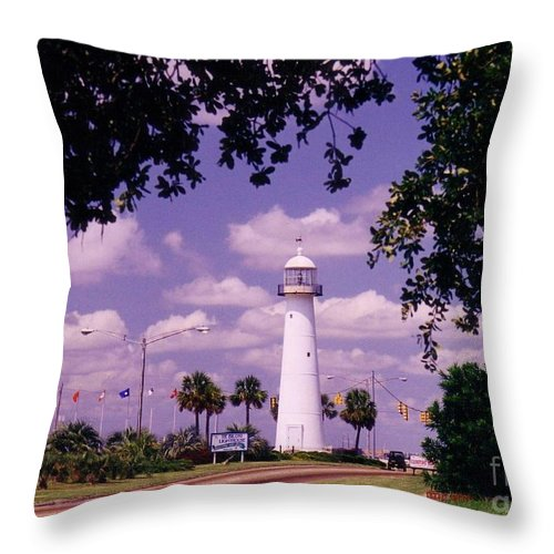 Lighthouse Throw Pillow featuring the photograph Lighthouse In Biloxi Mississippi by Halifax Artist John Malone