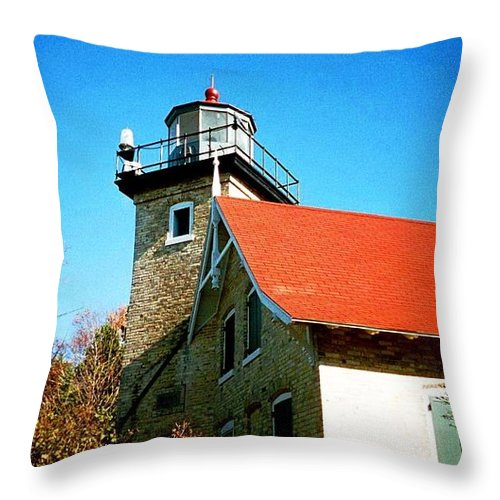 Lighthouse Throw Pillow featuring the photograph Lighthouse In The Fall by April Patterson