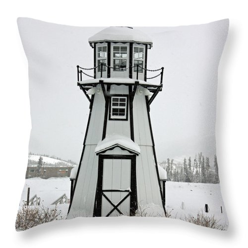 Lighthouse Throw Pillow featuring the photograph Lighthouse In The Snow by Greg Plamp