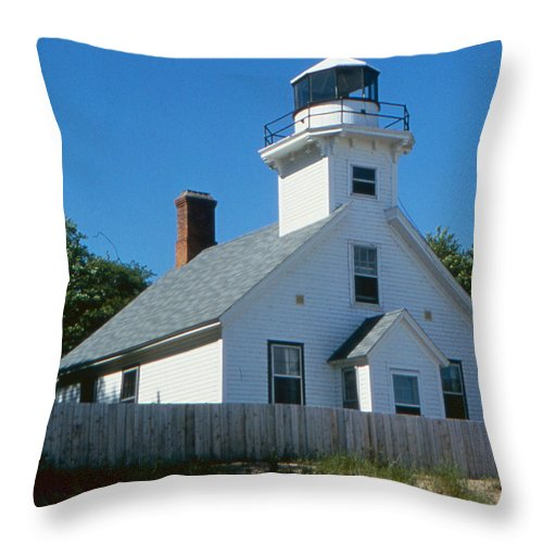 Lighthouse Throw Pillow featuring the photograph Lighthouse Near The Beach by Greg Plamp