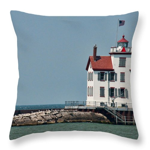 Lighthouse Throw Pillow featuring the photograph Lighthouse Ohio by David Arment