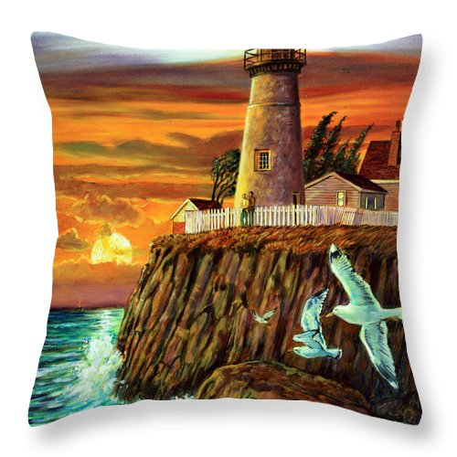 Lighthouse Throw Pillow featuring the painting Lighthouse Sunset by John Lautermilch