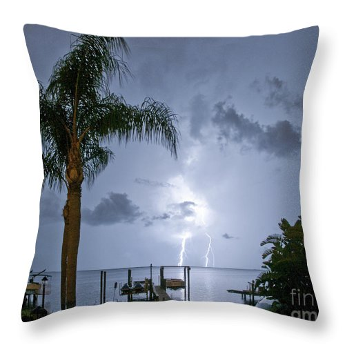 Lightning Throw Pillow featuring the photograph Lighting In The Backyard by Stephen Whalen