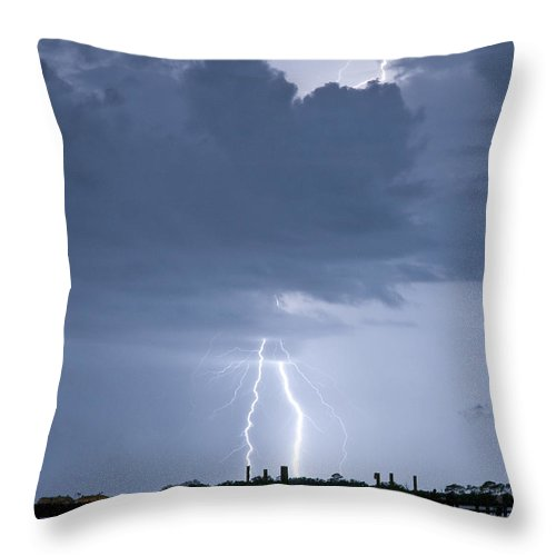 Lightning Throw Pillow featuring the photograph Lightning At The Pier by Stephen Whalen