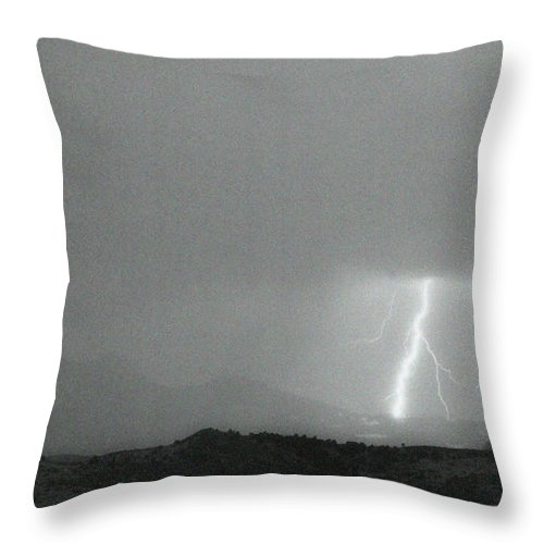 Continental Divide Throw Pillow featuring the photograph Lightning Bolts Hitting The Continental Divide Bw Crop by James BO Insogna