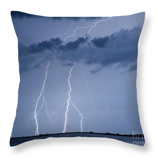 Lightning Throw Pillow featuring the photograph Lightning On The Water by Stephen Whalen