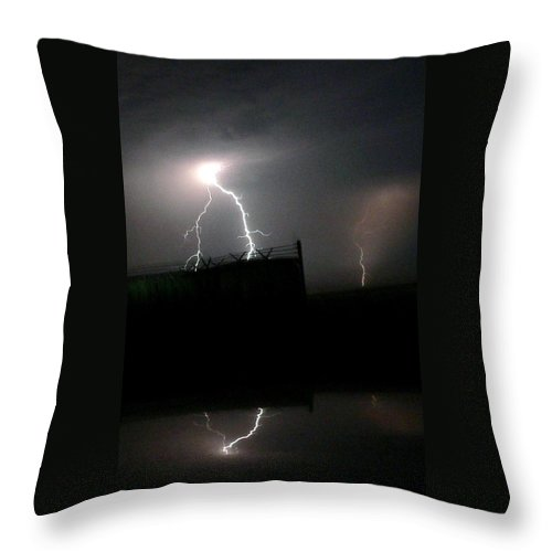 Lightning Throw Pillow featuring the photograph Lightning Strike by Jeff Lowe
