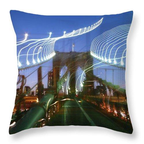 Throw Pillow featuring the photograph Lightwriting Brooklyn Bridge by Anna Ruzsan