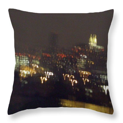 Throw Pillow featuring the photograph Lightwriting New York City by Anna Ruzsan
