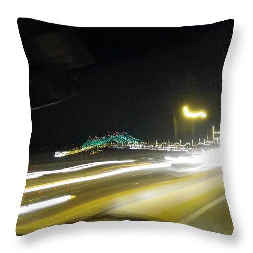 Throw Pillow featuring the photograph Lightwriting Tappan Zee Bridge by Anna Ruzsan