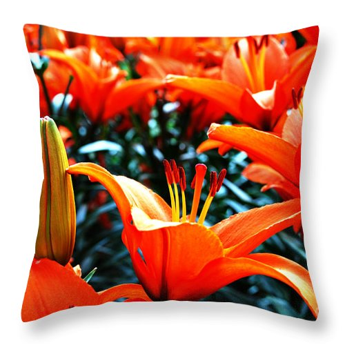 Lilies Throw Pillow featuring the photograph Lilies In Bloom by Pravine Chester