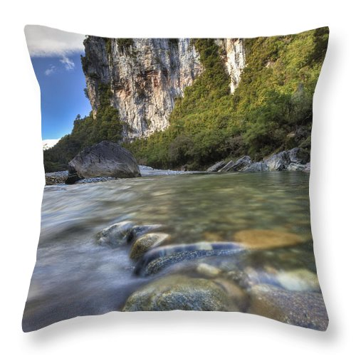 Hhh Throw Pillow featuring the photograph Limestone Cliffs And Fox River, Paparoa by Colin Monteath