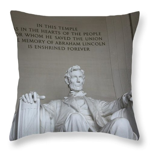 Lincoln Throw Pillow featuring the photograph Lincoln Memorial - Enshrined Forever by Ronald Reid