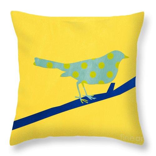 Bird Throw Pillow featuring the mixed media Little Blue Bird by Linda Woods