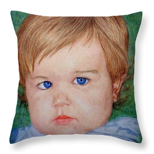 Colored Pencil Throw Pillow featuring the painting Little Boy Blue by Karen Curley