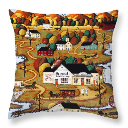 Joe Holodook Throw Pillow featuring the painting Little Falls Market by Joseph Holodook