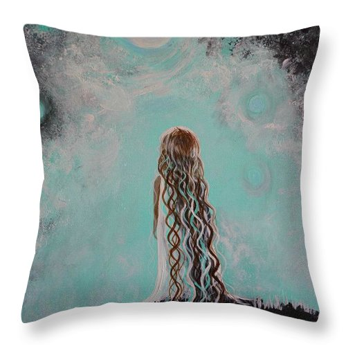 Little Girl Canvas Prints Throw Pillow featuring the painting Little Galaxie Three by Leslie Allen