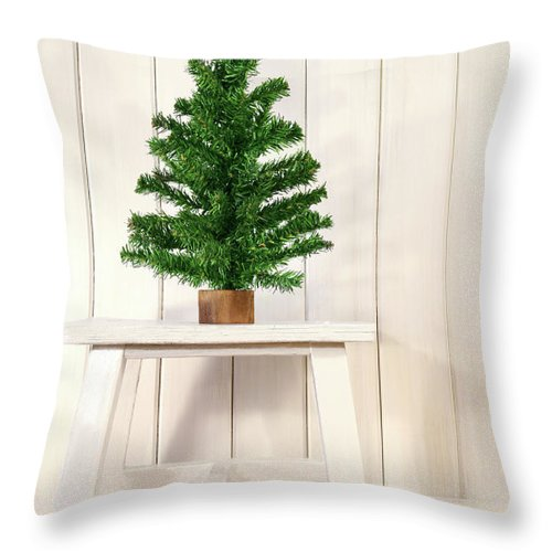 Bright Throw Pillow featuring the photograph Little Green Fir Tree by Sandra Cunningham